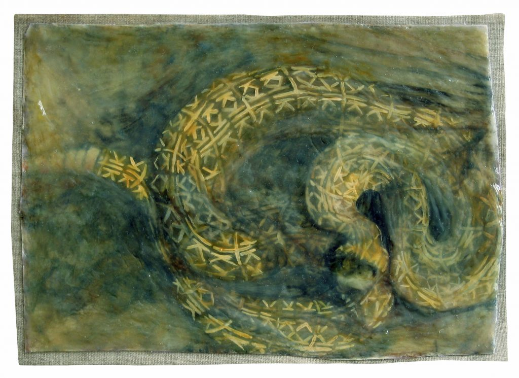 Logo Creature Study : Rattlesnake 3, 2014 Oil mixed with glue on Linen 5 x 7 inches