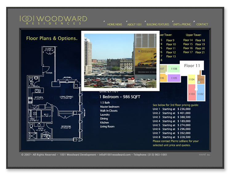1001 Woodward – Interactive Flash Website