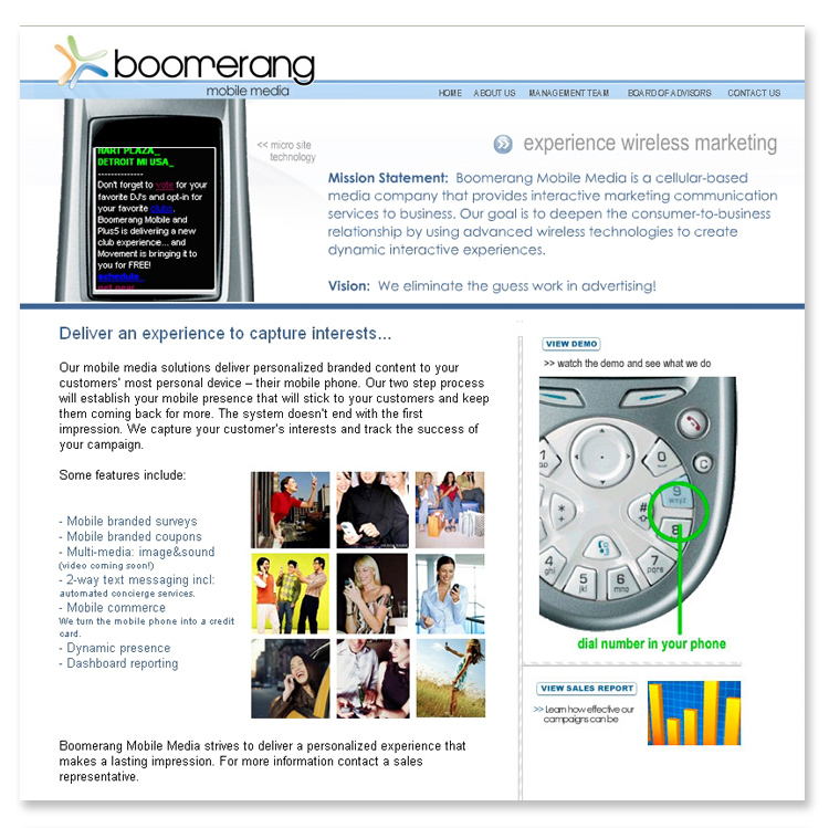 Boomerang Mobile Media, Flash and Dynamic Website