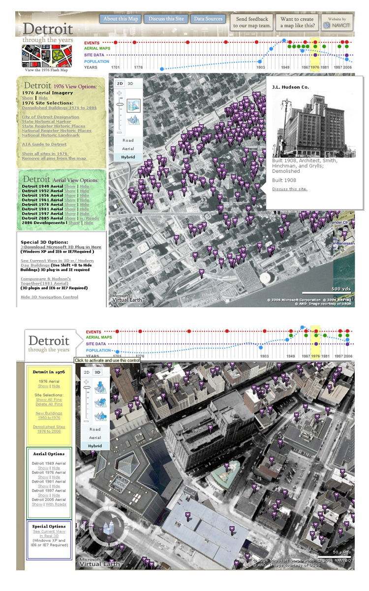 Detroit Through the Years – Bing Maps API, Flash Historical Map