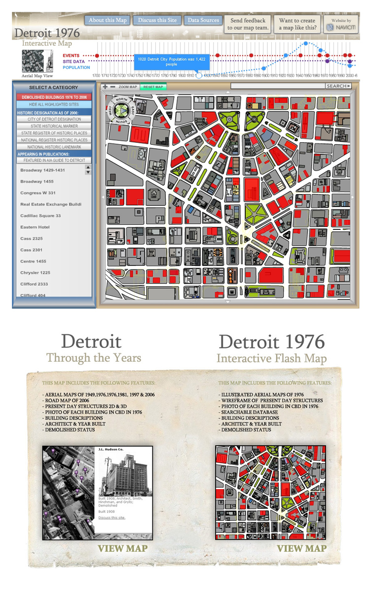 Detroit 1976 Historical Flash Map