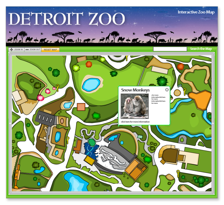 Detroit Zoo Interactive Flash Mapping System