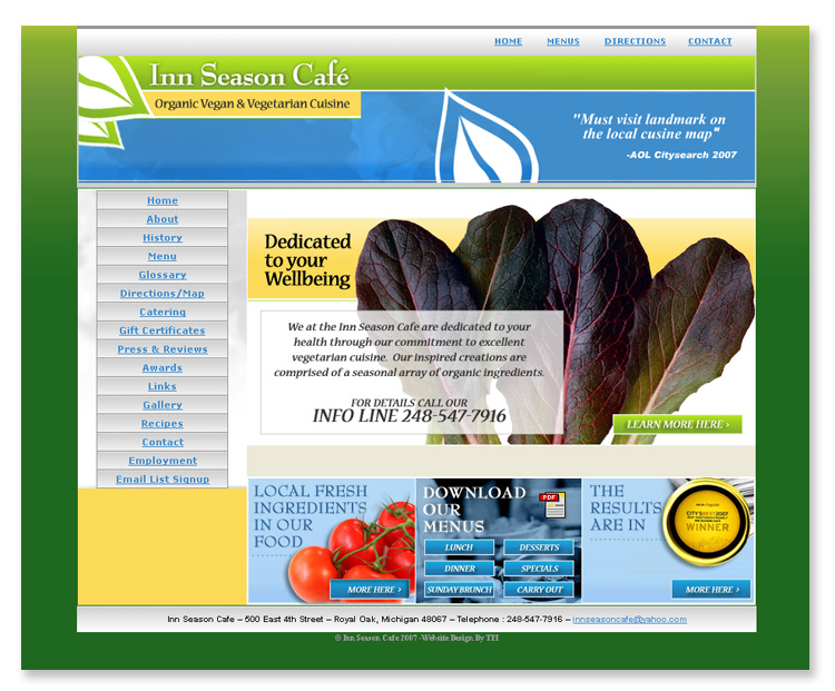 Inn Season Cafe – Website