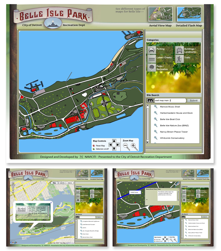 Belle Isle Park Google and Flash Interactive Mapping System