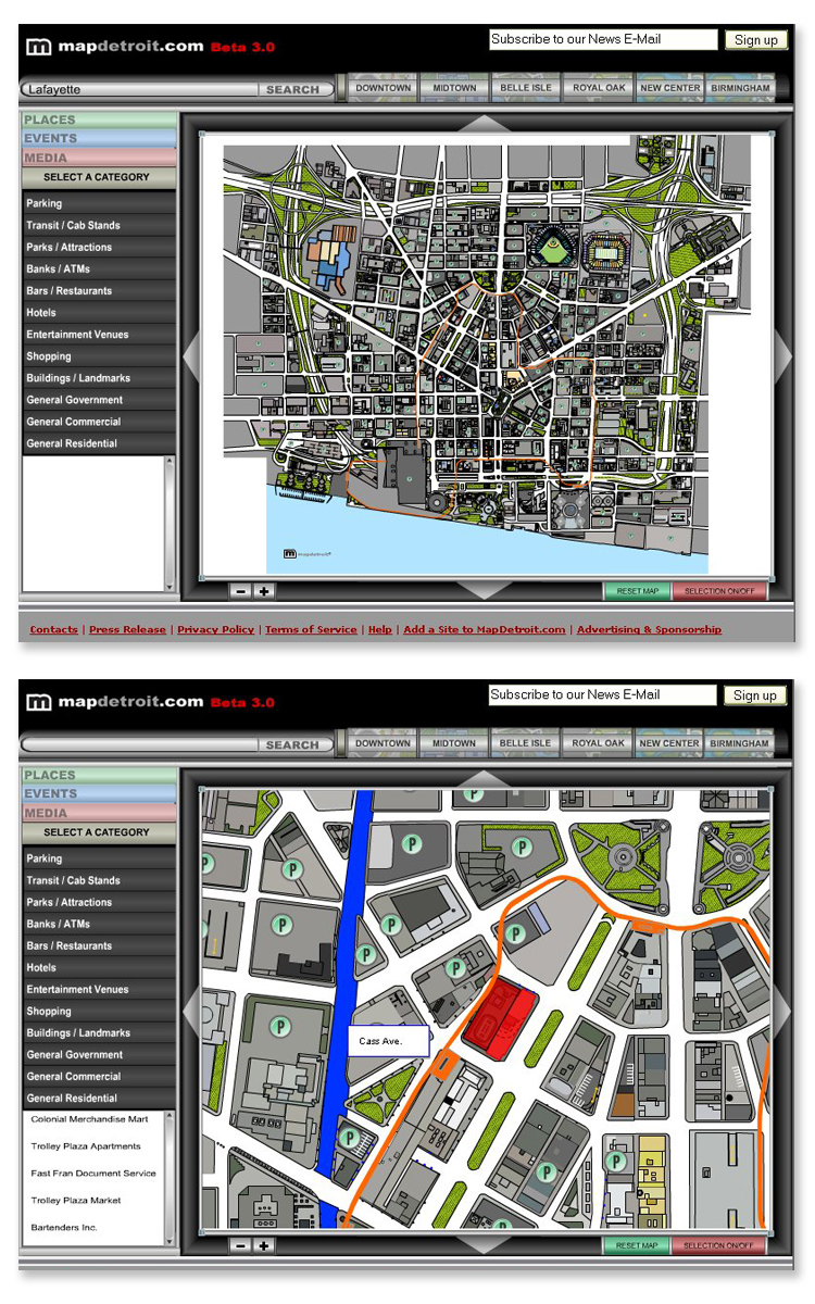 Map Detroit Flash Interactive Mapping & Kiosk System