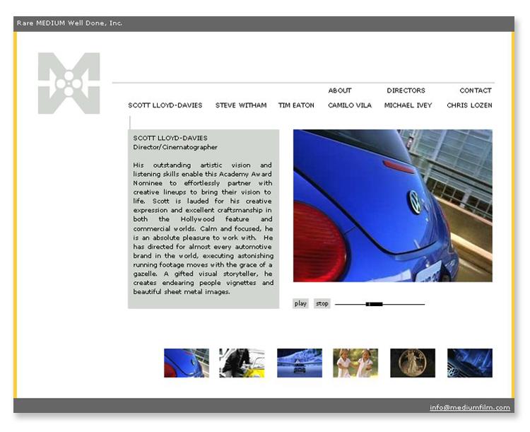 Medium Film – Video/Flash Website Design