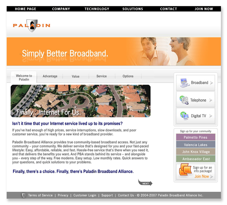 Paladin Broadband Communications Website