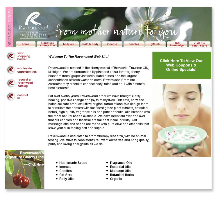 Ravenwood Aromatherapy Products E-commerce Website
