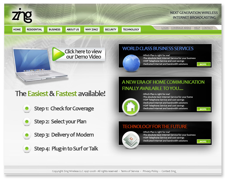 Zing Broadband – Flash Website