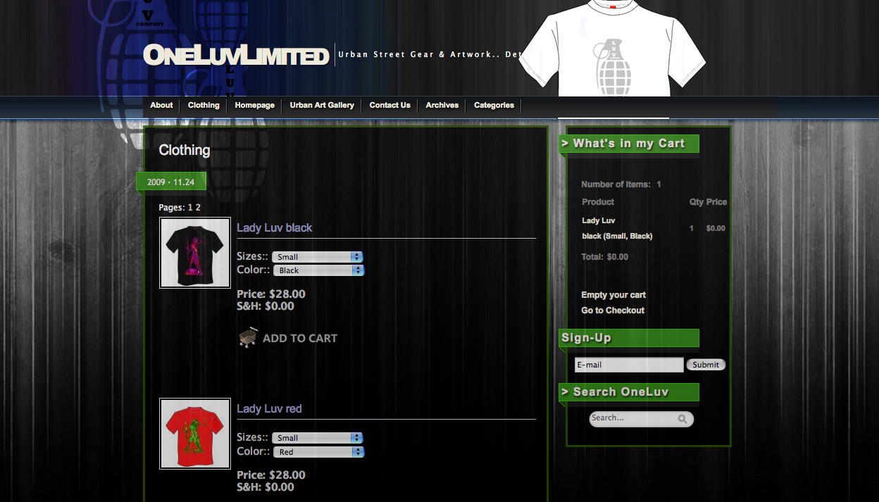 OneLuv Limited Clothing E-Commerce Website