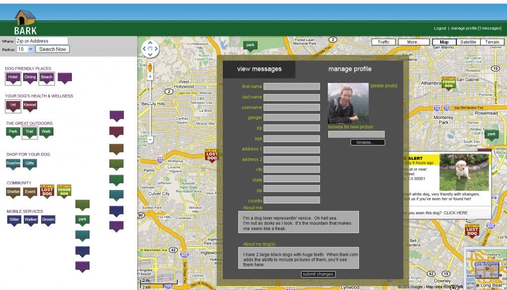 Bark.com Google Maps API Mash-Up