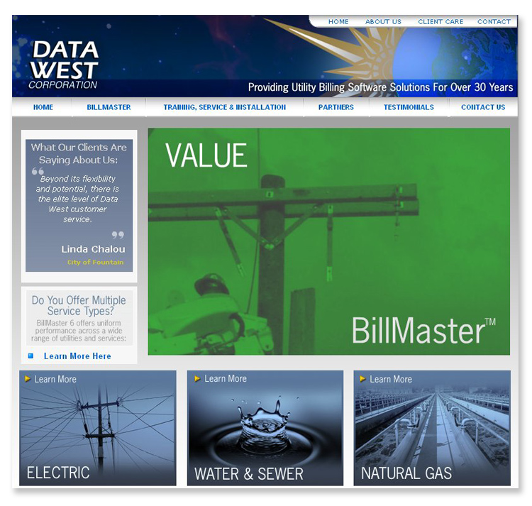 Datawest Utility Billing Software Website
