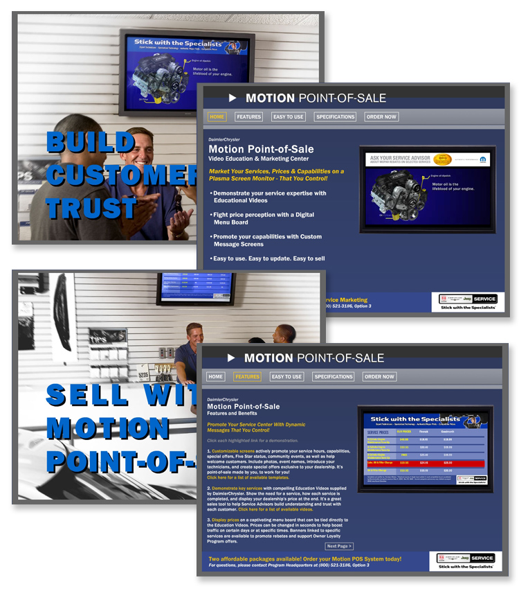 Chrysler Motion Point-of-Sale -Interactive Flash Website