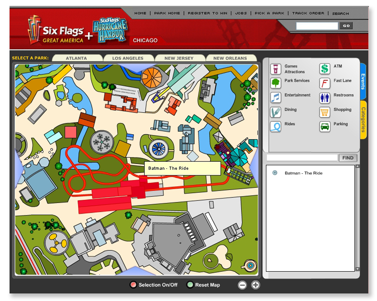Six Flags Theme Park Interactive Flash Mapping System